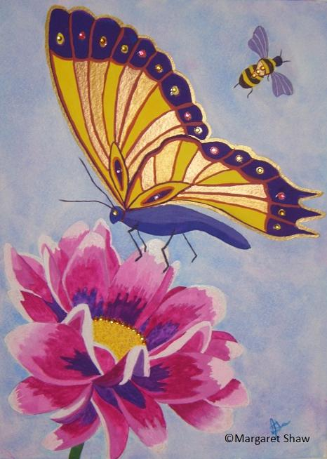 Bee Bloom and Butterfly